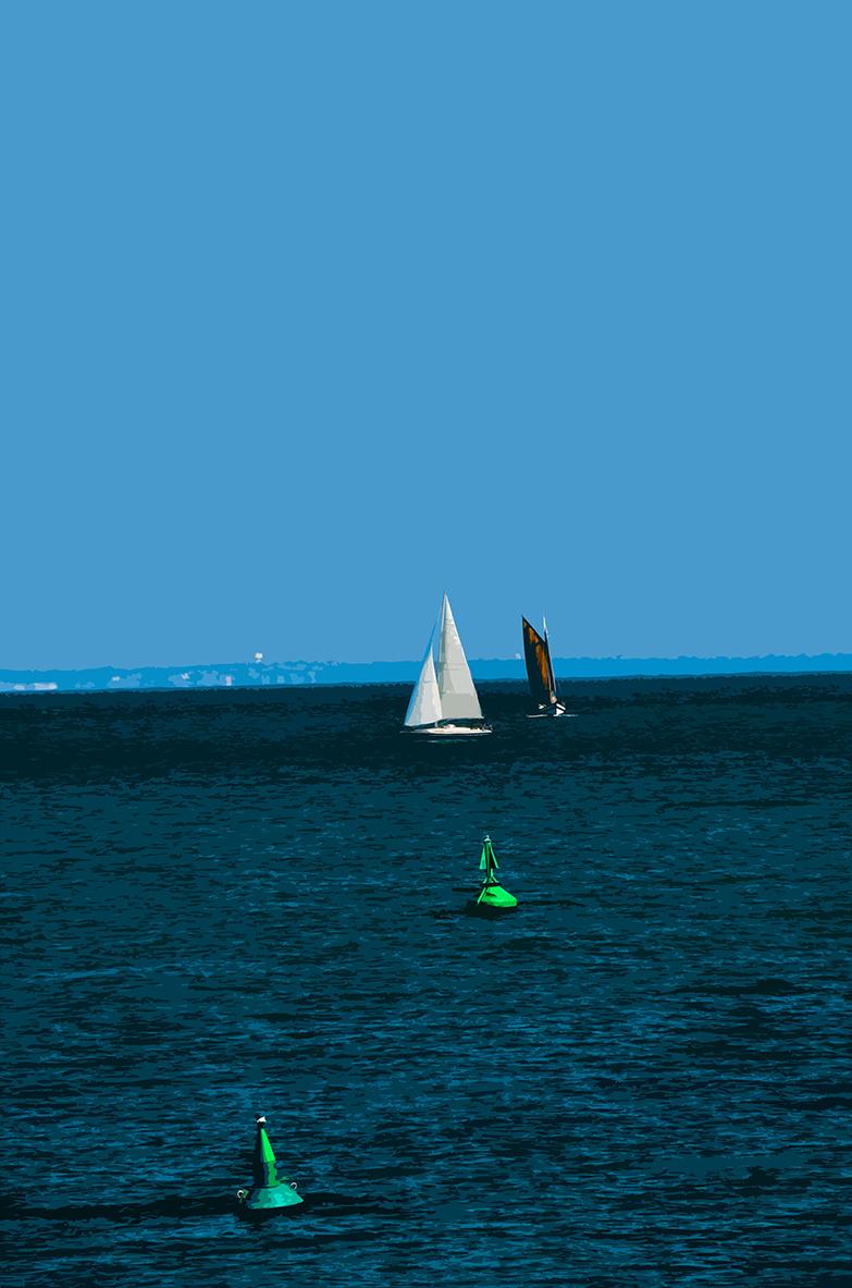 Bouées verte et bateaux
