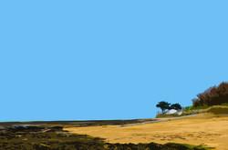 Maisons et arbres sur la plage – 2