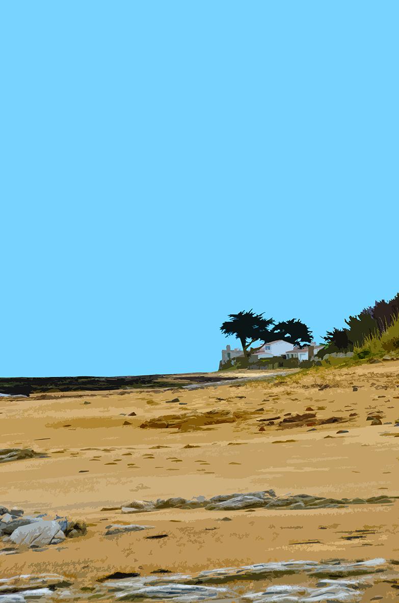 Maisons et arbres sur la plage