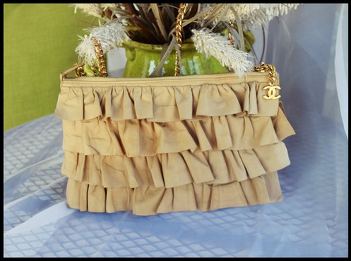 25c52590bff6 Chanel Ruffled Lambskin Leather CC Clutch Bag