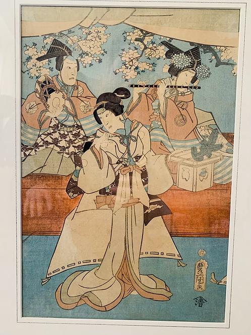 Toyokuni |  Three Geisha's Japanese woodblock