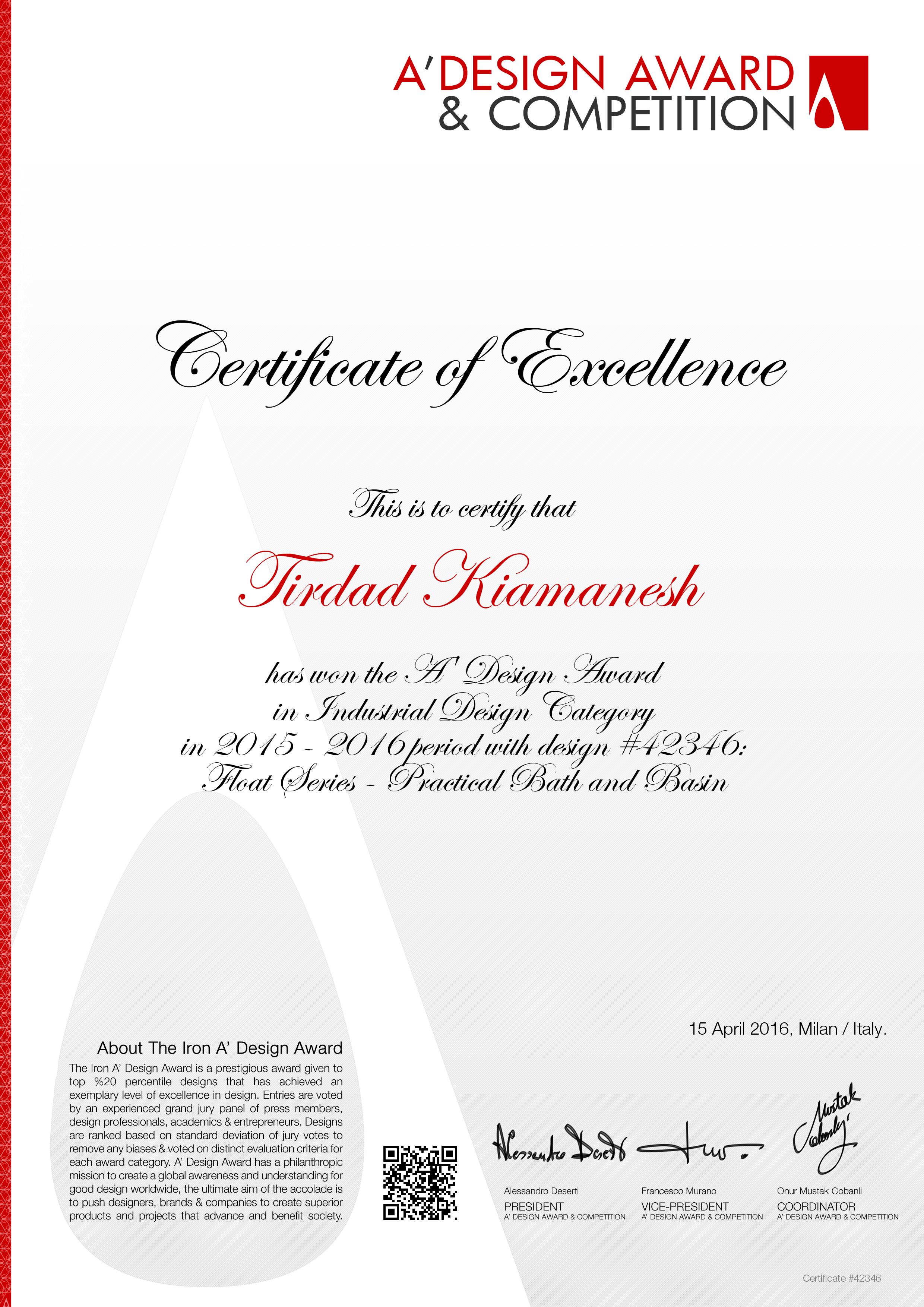 A'Design award certificate