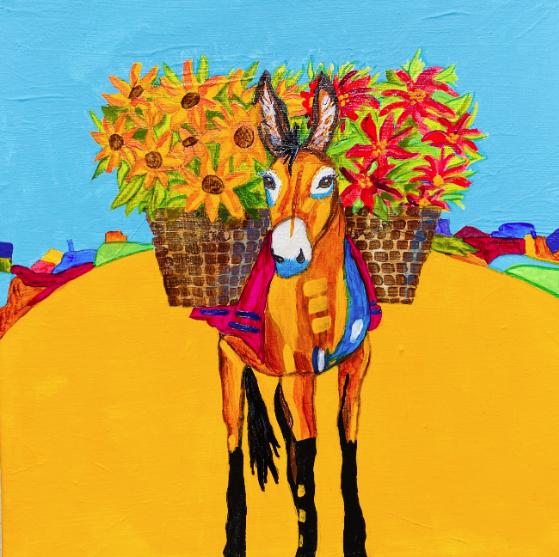 Burro Con Flores-Acrylic-McManus