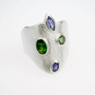 Ring Silber mit Safir, Turmalinen und Tansanit von gudRun flügge - zu erwerben - PA079549.