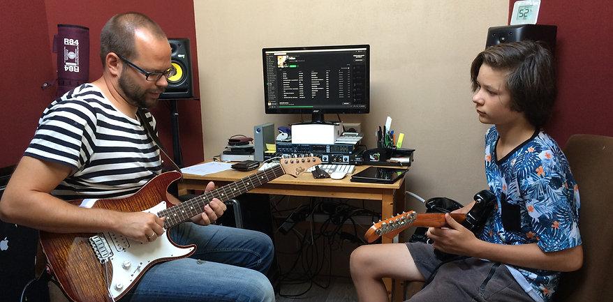 Gitaarles in studio
