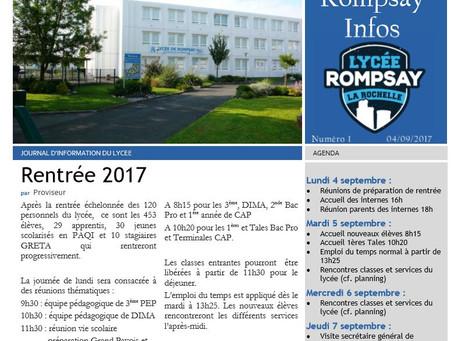 Journal du lycée - numéro 2 (11 au 15 septembre)