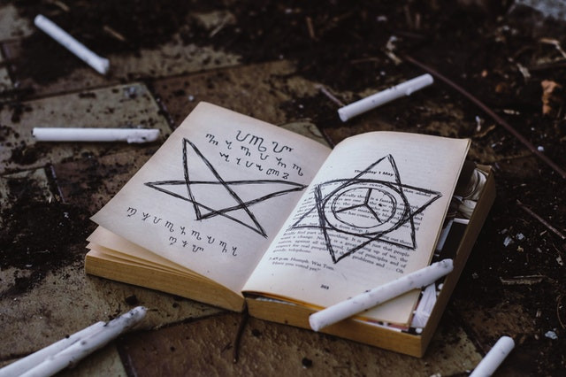 A book with strange symbols scrawled onto it, a number of burned candles.