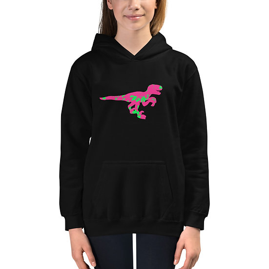 Graphite Raptor Green/Pink Unisex Kids Hoodie