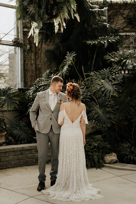 civic gardens wedding london ontario - tropical wedding - destination wedding photographer - wedding photographer near me - candid wedding photographer near me