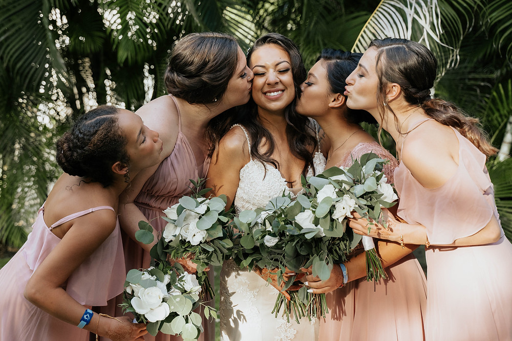 blush bridesmaid dresses, eucalyptus bouquets, wedding photography