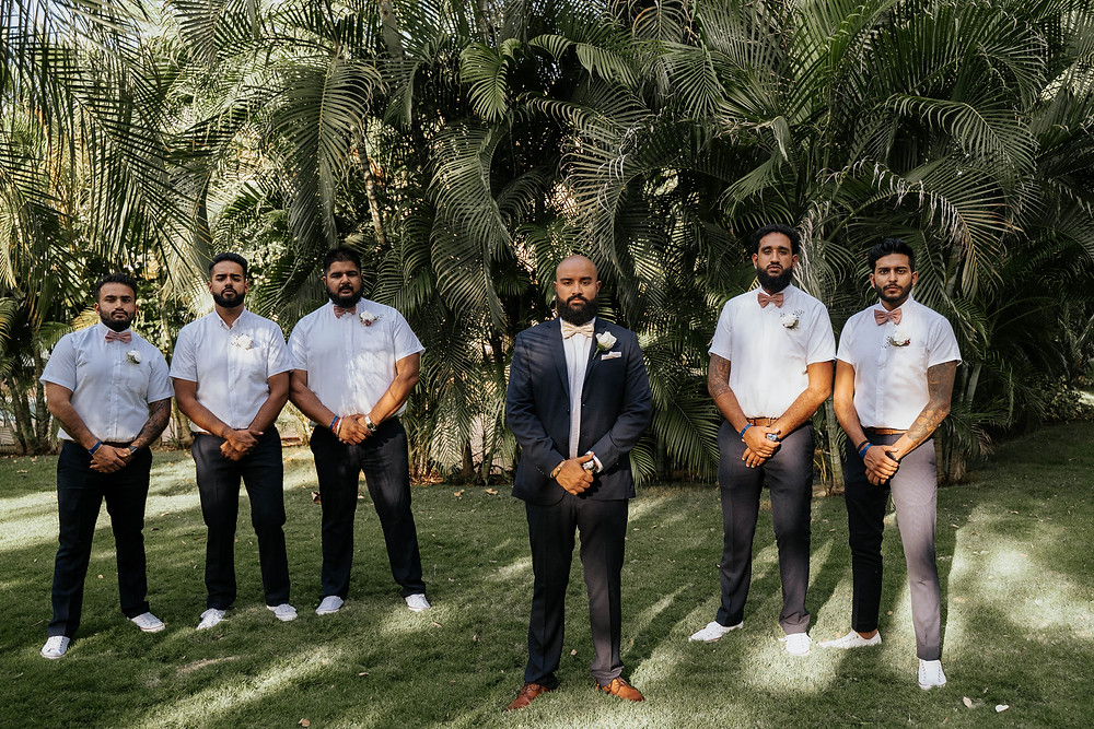 groom blue suit , groomsmen white t-shirt, tropical wedding photography