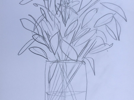 Flowers, domesticity and inner dialogue in drawings.  29 May.