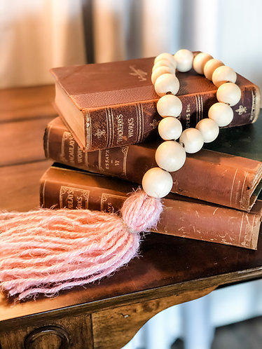 Pink Wood Bead Tassel