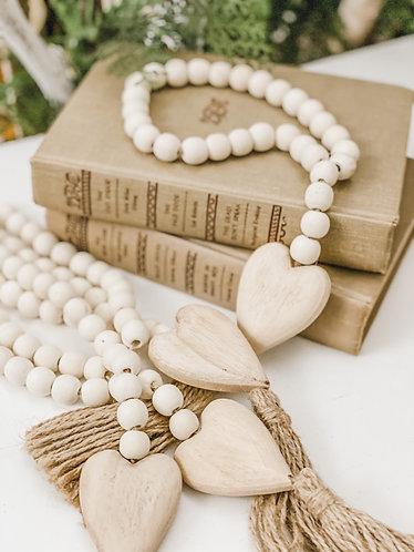Wood Heart Bead Tassel