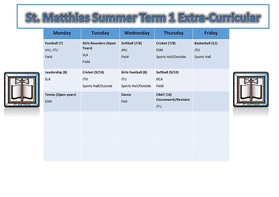Extra Curricular Timetable Summer 2021 (