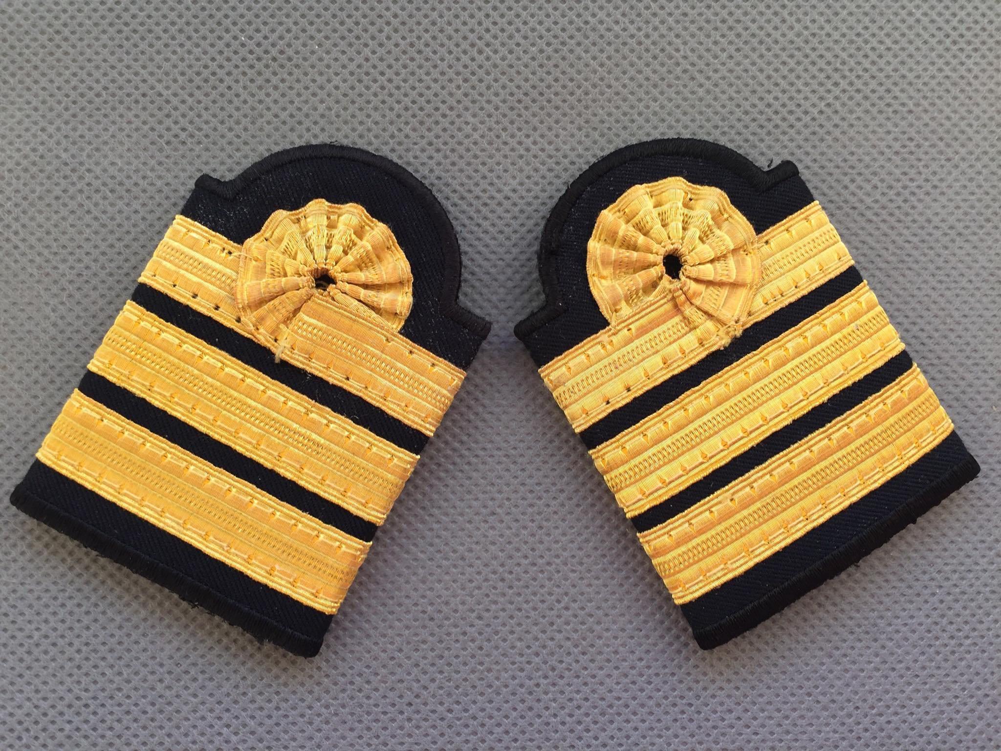 Epaulettes Pilot 3 X 13m Gold Stripes Soft Dark Blue Morocco