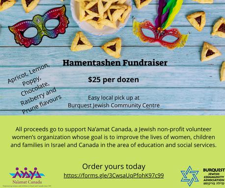 Facebook post for Hamentashen Fundraiser