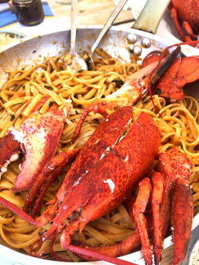 Freshly cooked lobster pasta