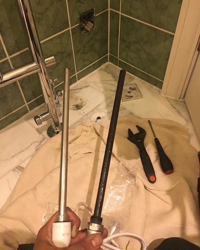 Towel Rail Element change!👨🏻🔧#towelrail #heatonly #heating #bathroom #element