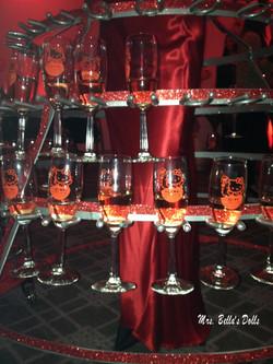 Branded champagne glasses
