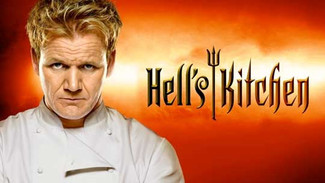 On set for HELL'S KITCHEN