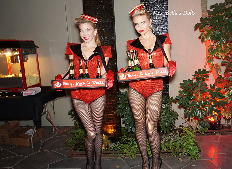 Champagne girls with trays