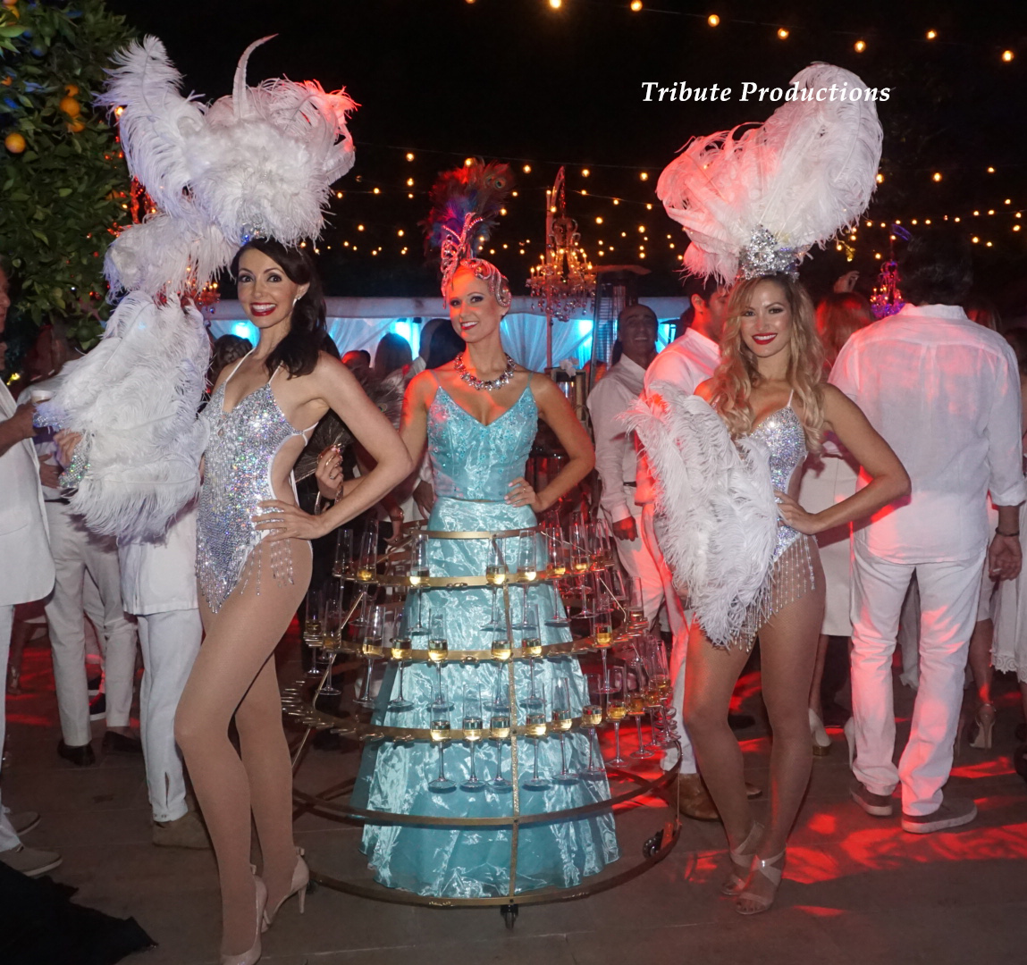 Champagne Dress and showgirls