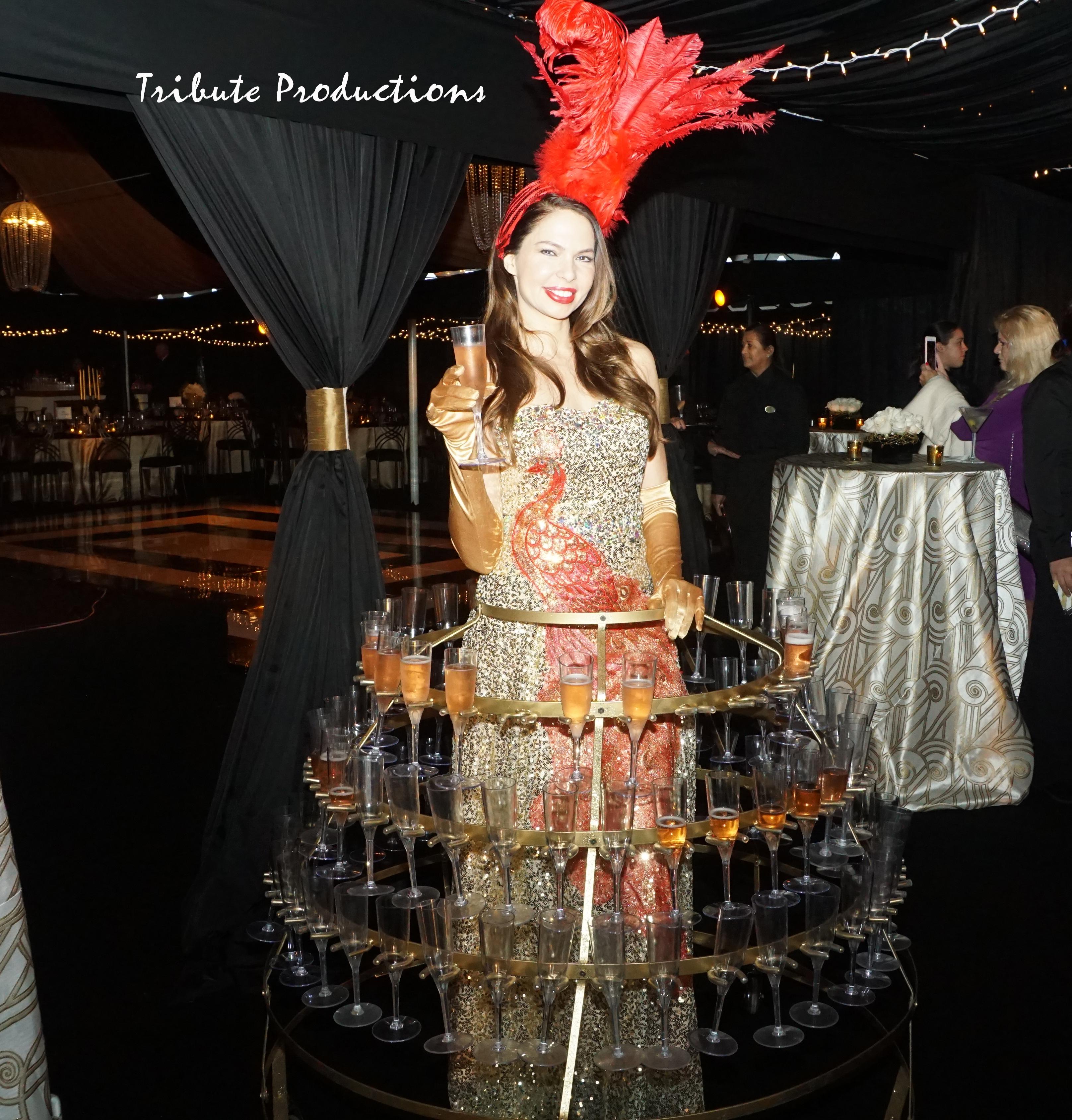 Golden bird champagne dress
