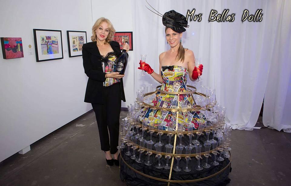 Pop Art Champagne Strolling Dress