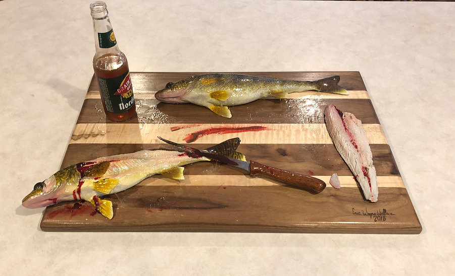 Red Lake walleye filleting fish mount replica knife grain belt beer bottle