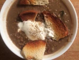 BROWN LENTIL, SAGE & CHESTNUT SOUP WITH RICOTTA