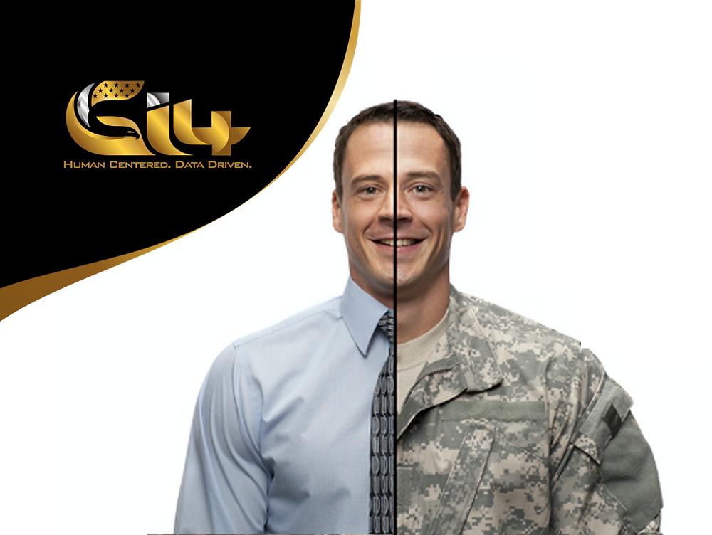 Soldier in half civilian clothes and half military uniform