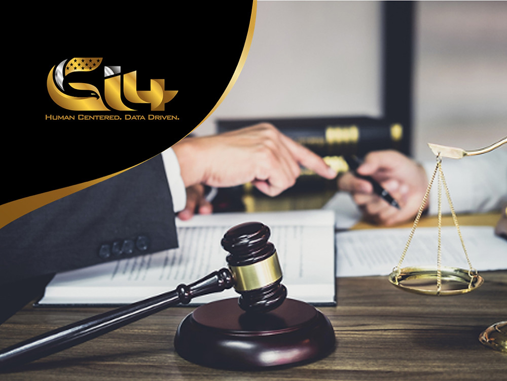 Gavel and legal scales with an open book with the Gi4 logo.