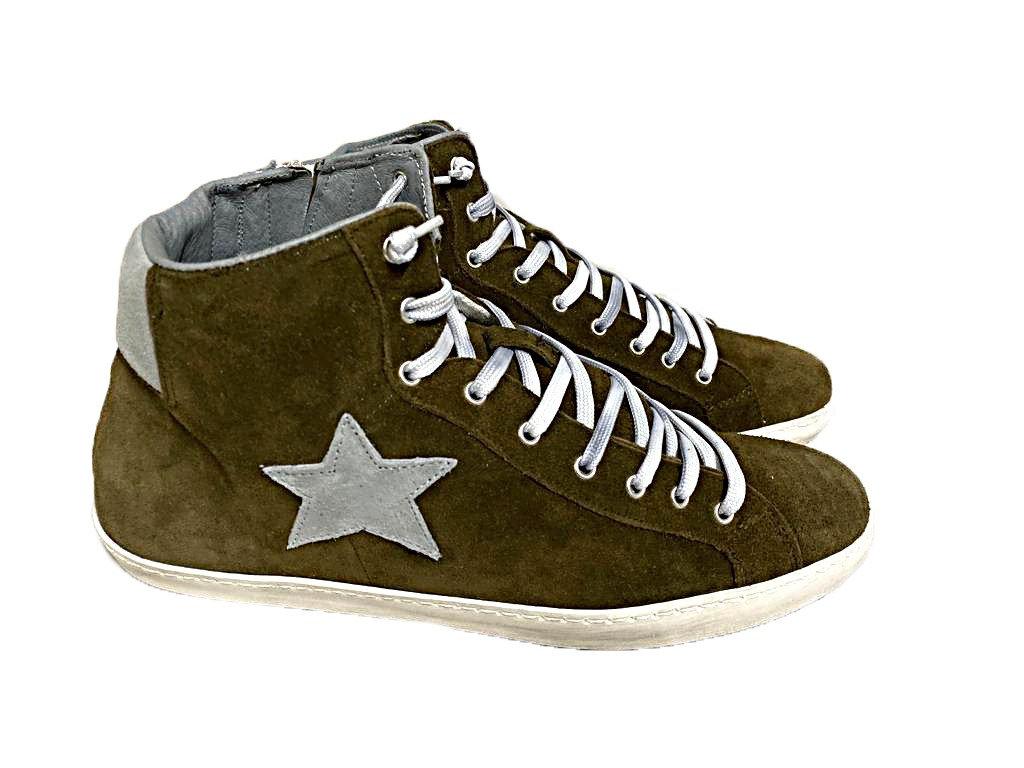 scarpe sneakers alte uomo camoscio Via Condotti grigio stella made in italy nuov   Ingrosso scarpe