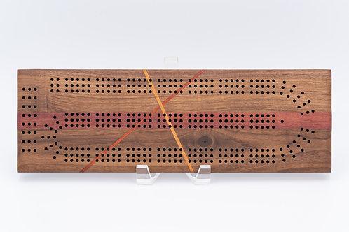 Slashed Walnut Cribbage Board