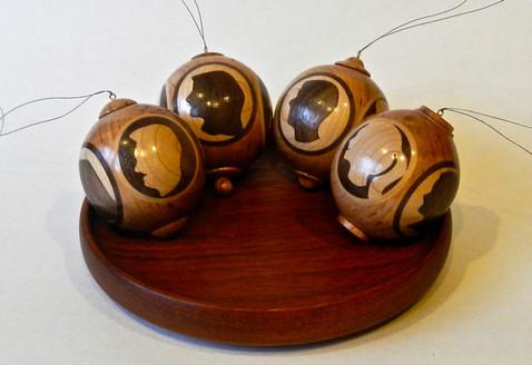 Cherry, Walnut, & Maple Ornaments