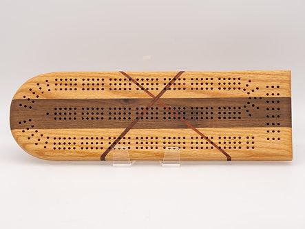 Oak, Walnut, CrissCross Cribbage Board
