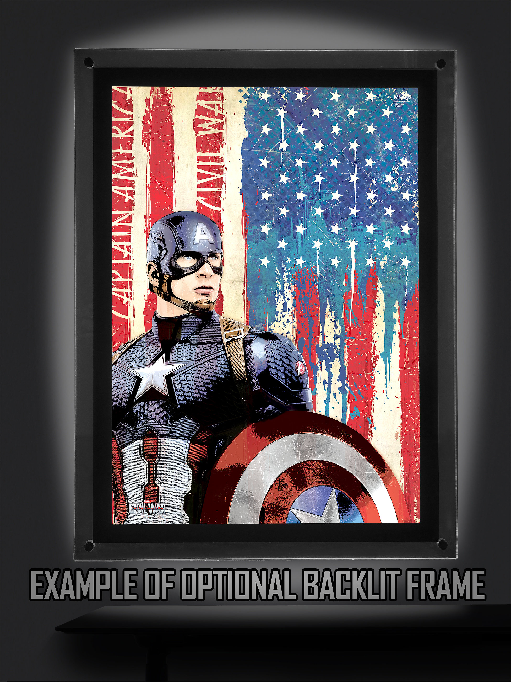 Captain America Wall Art mighty print™ licensed translucent wall art | marvel's captain