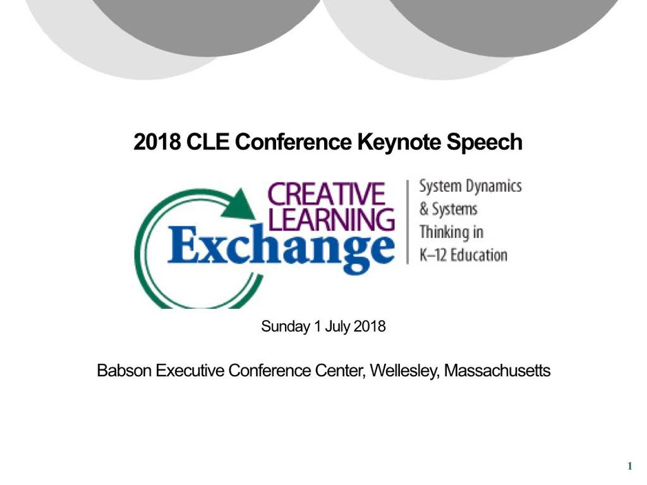 Keynote Speech at CLE Conference 2018 Boston, MA