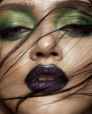 Woman with editorial makeup.