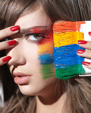 Woman with colorful makeup. Personal development. Podcast, blog, mentorship and coaching.