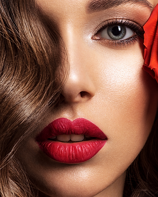 Beautiful woman with red lipstick.