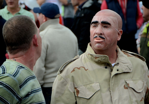 Many of the EDL wore masks to protect th