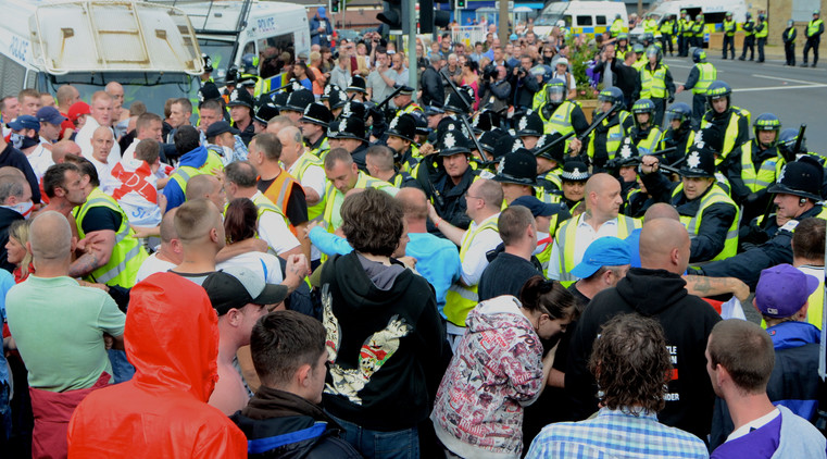 Police barred the road dividing the EDL