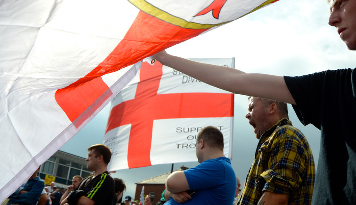 Flying the flag, Sheffield EDL March 21.