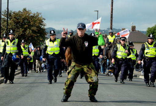 Leading the procession, Sheffield EDL Ma