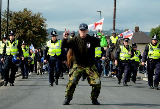 Leading the procession, Sheffield EDL Ma