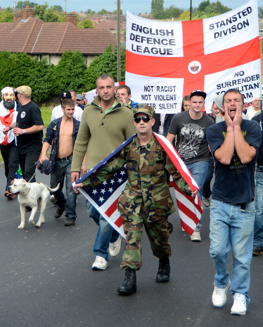Different 'divisions' of the EDL march t