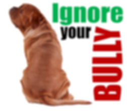 Large mastiff puppy turning his/her back on the word BULLY. Dog Reactive Dos.