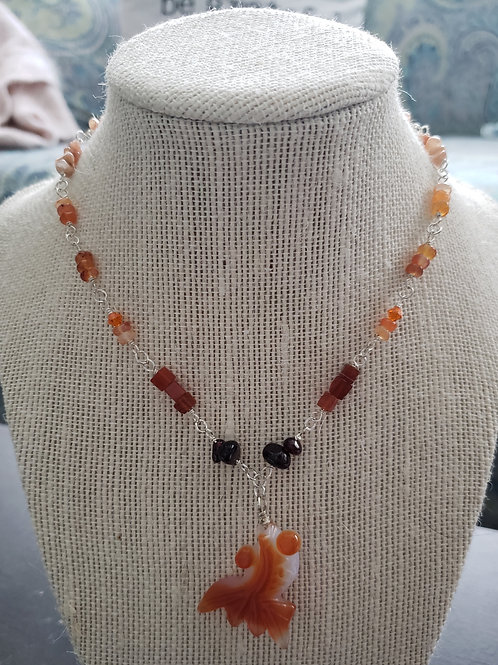 Carnelian Fish Necklace in sterling silver